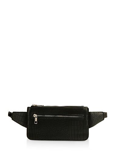 Faux Croc Belt Bag,BLACK,large