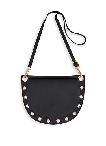 Half Moon Grommet Detail Crossbody Bag,BLACK,large