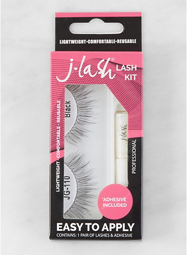 False Eyelash Kit | Black JG110,BLACK,large