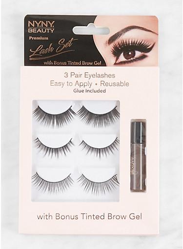 3 Pair False Eyelashes with Tinted Brow Gel,BLACK,large
