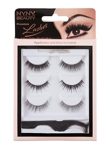 3 Pack False Eyelashes,BLACK,large