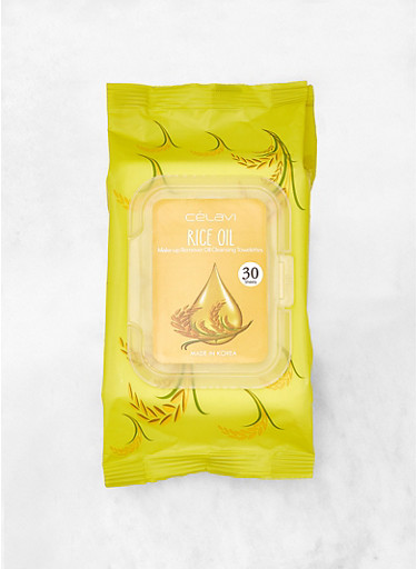 Rice Oil Makeup Remover Cleansing Towelettes,YELLOW,large