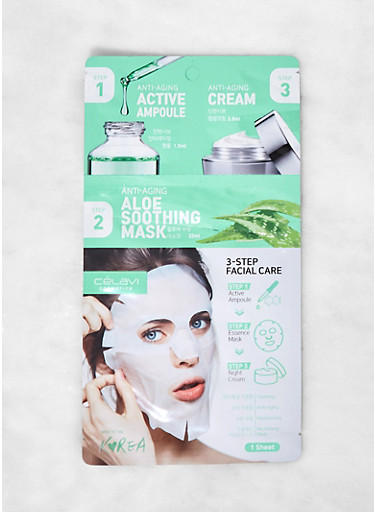 3 Step Aloe Soothing Facial Care Kit,GREEN,large