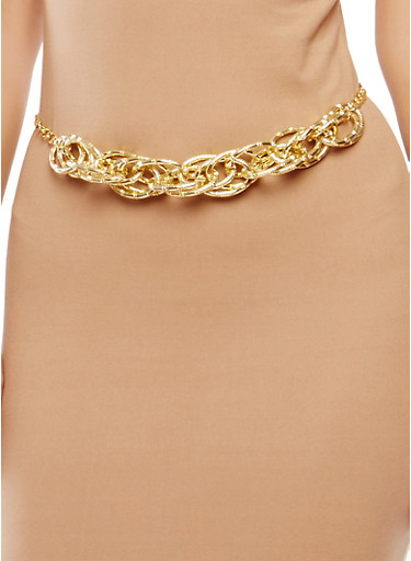 Metallic Multi Chain Link Belt,GOLD,large
