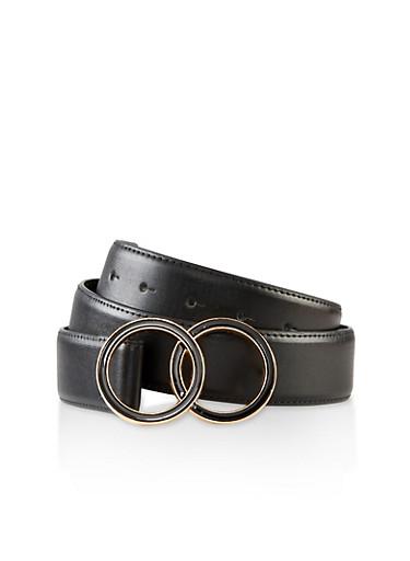 Double Metallic Ring Buckle Belt,BLACK,large