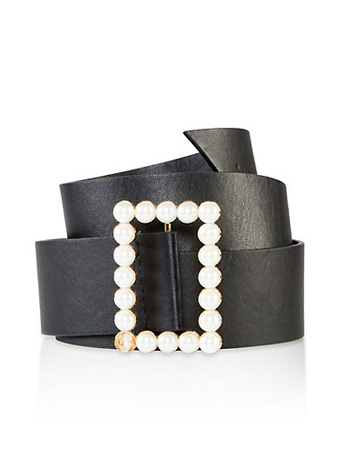 Faux Pearl Rectangular Buckle Belt,BLACK,large