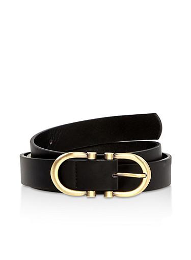 Plus Size Double Buckle Faux Leather Belt,BLACK,large