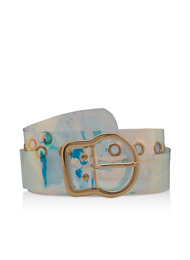 Clear Iridescent Belt,MULTI COLOR,large
