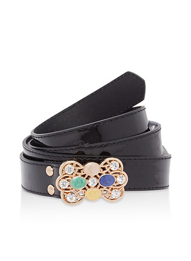 Plus Size Jeweled Buckle Faux Leather Belt,BLACK,large