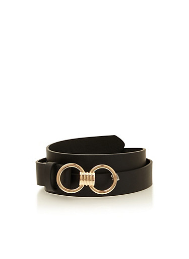 Double Circle Faux Leather Belt,BLACK,large