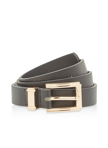 Basic Faux Leather Belt,BLACK,large