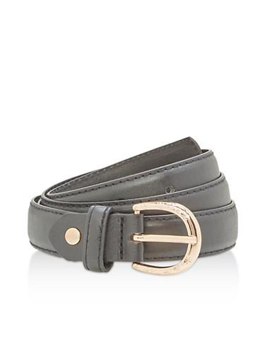 Skinny Belt with Laser Cut Metallic Buckle,BLACK,large