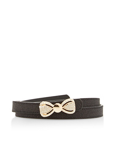 Rhinestone Bow Buckle Shimmer Belt,BLACK,large