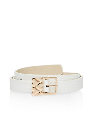 Shimmer Faux Leather Skinny Belt with Heart Buckle,WHITE,large