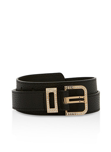 Textured Faux Leather Rhinestone Buckle Belt,BLACK,large