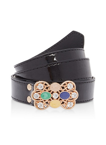 Faux Leather Jeweled Buckle Belt,BLACK,large