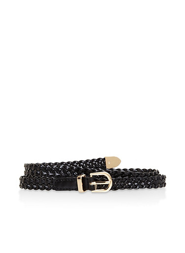 Braided Skinny Belt,BLACK,large