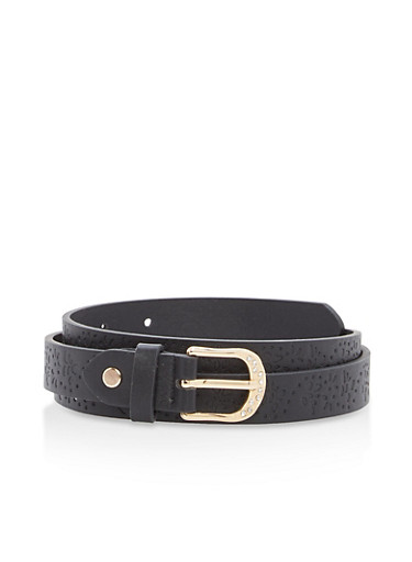 Embossed Faux Leather Skinny Belt,BLACK,large