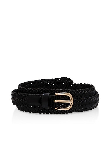 Braided Faux Leather Skinny Belt,BLACK,large
