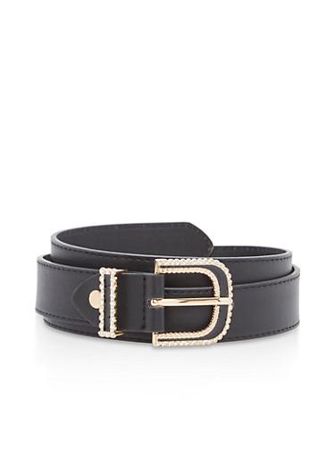 Rhinestone Buckle Faux Leather Belt,BLACK,large