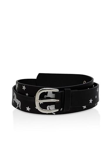 Unicorn Graphic Belt,BLACK,large