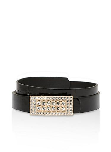 Rhinestone Buckle Faux Leather Skinny Belt,BLACK,large