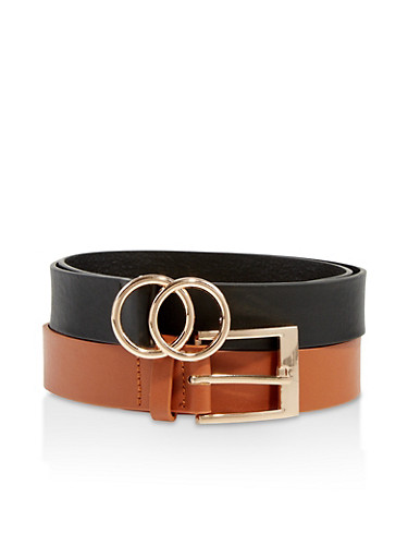 Set of 2 Solid Belts,BLACK,large