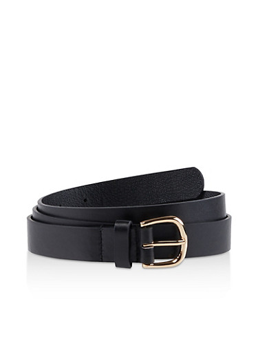 Plus Size Solid Skinny Belt,BLACK,large