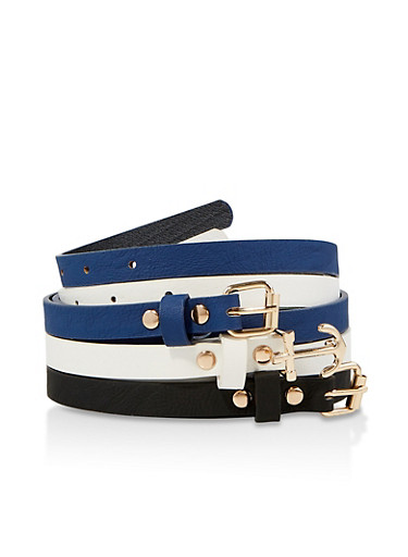 Set of 3 Skinny Faux Leather Belts,BLACK/WHITE,large