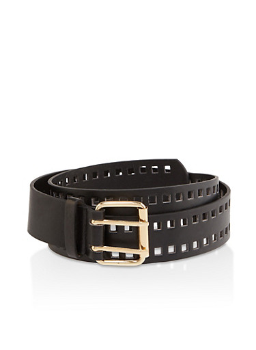 Plus Size Faux Leather Perforated Belt,BLACK,large