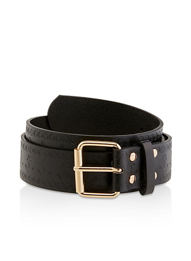 Plus Size Anchor Embossed Faux Leather Belt,BLACK,large
