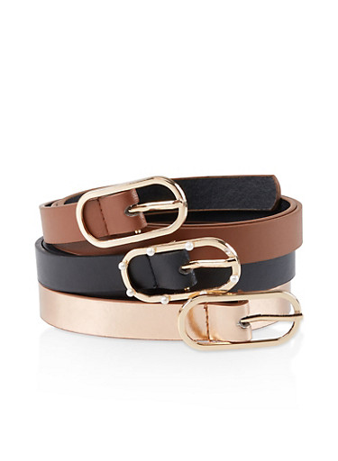 Faux Pearl Buckle Belt Trio,BLACK,large