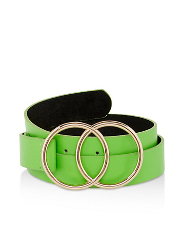 Metallic Buckle Neon Belt,GREEN,large
