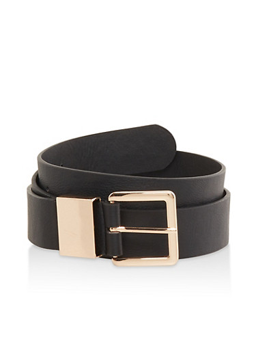 Metallic Buckle Belt,BLACK,large