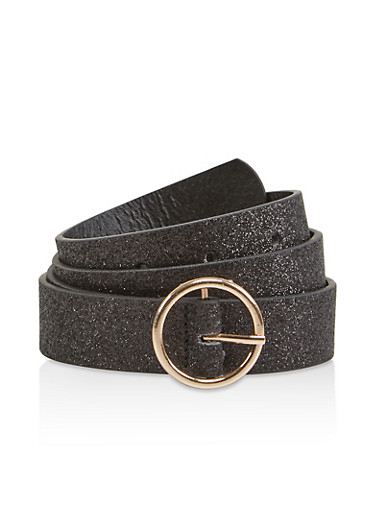 Glitter Faux Leather Belt,BLACK,large
