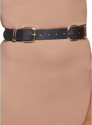 Metallic Double Buckle Belt,BLACK,large