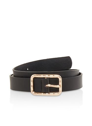 Square Buckle Faux Leather Belt,BLACK,large