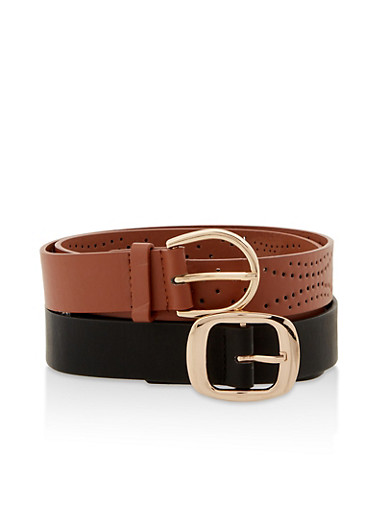 Solid and Perforated Belt Set,BLACK,large