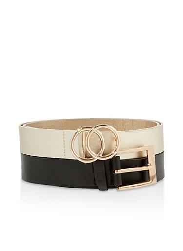 Plus Size Set of 2 Faux Leather Belts,BLACK,large