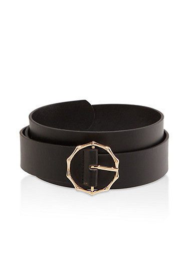 Plus Size Metallic Bamboo Buckle Belt,BLACK,large