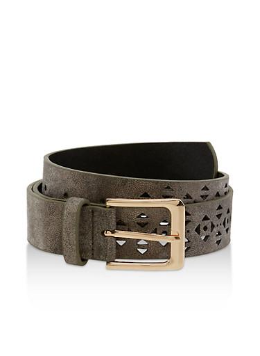 Aztec Laser Cut Faux Leather Belt,BLACK,large