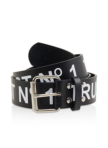 Plus Size Trust No1 Faux Leather Belt,BLACK/WHITE,large