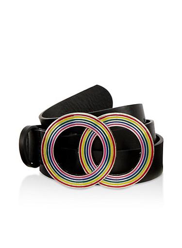 Rainbow Round Buckle Belt,BLACK,large