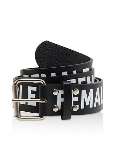 Plus Size Female Power Graphic Belt,BLACK/WHITE,large