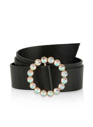 Plus Size Iridescent Rhinestone Circle Buckle Belt,BLACK,large