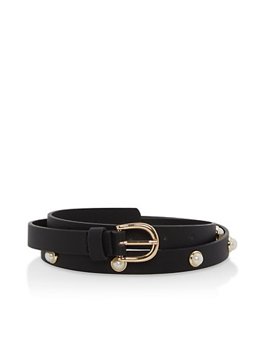 Faux Pearl Studded Skinny Belt,BLACK,large