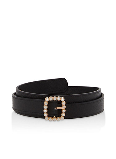 Faux Pearl Buckle Skinny Belt,BLACK,large