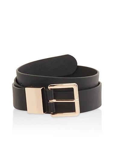 Plus Size Faux Leather Belt,BLACK,large