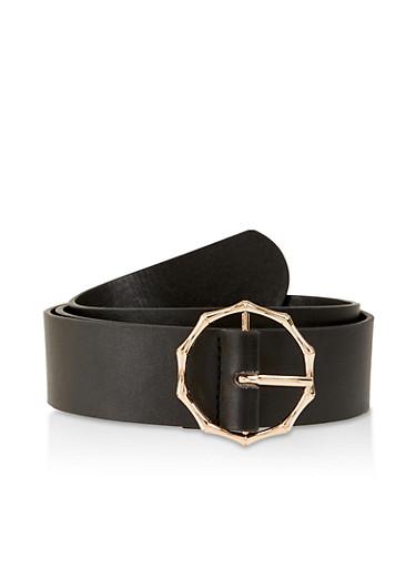 Metallic Bamboo Buckle Belt,BLACK,large
