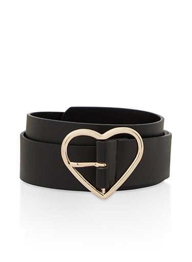 Heart Buckle Faux Leather Belt,BLACK,large